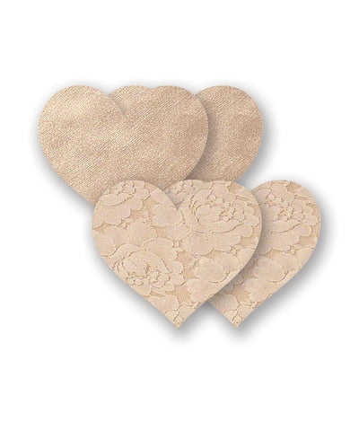 Basic Hearts Nipple Pasties 2-Pack in Cream