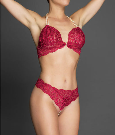 Paris Collection Classic Pearl Thong in Red