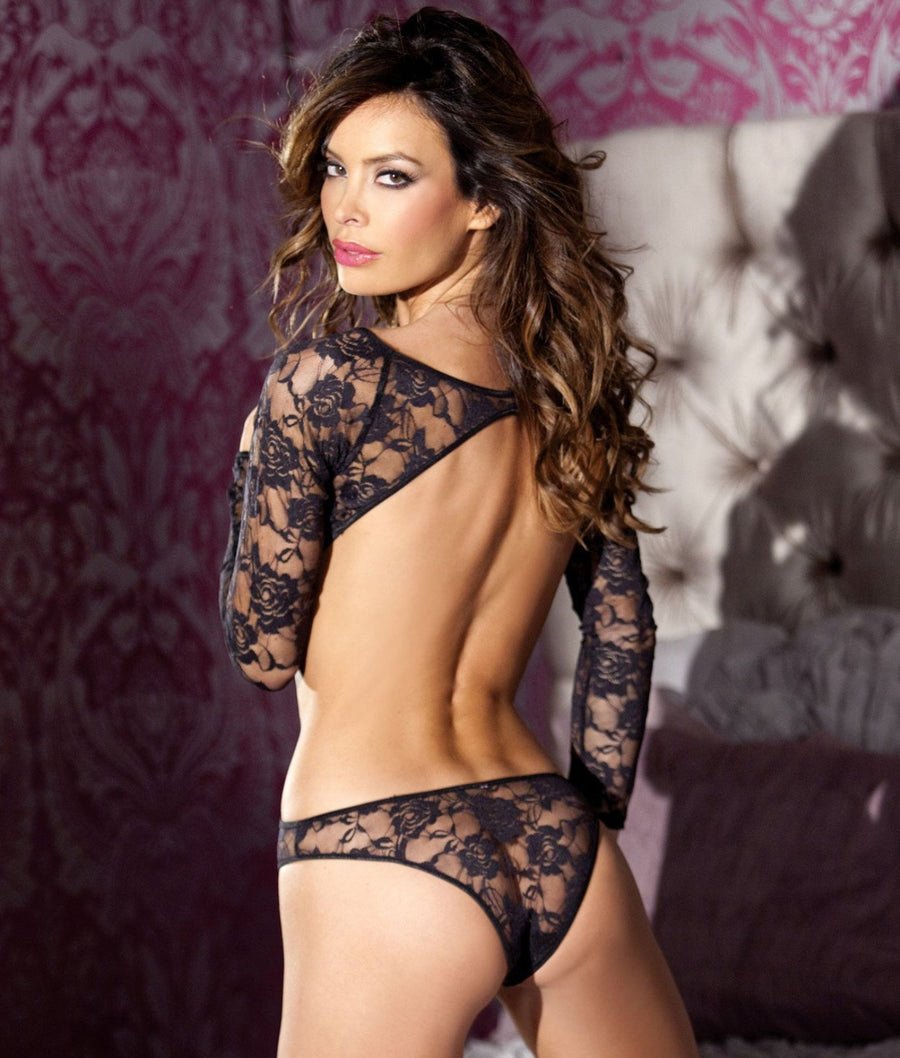 Black||Floral Lace Teddy in Black