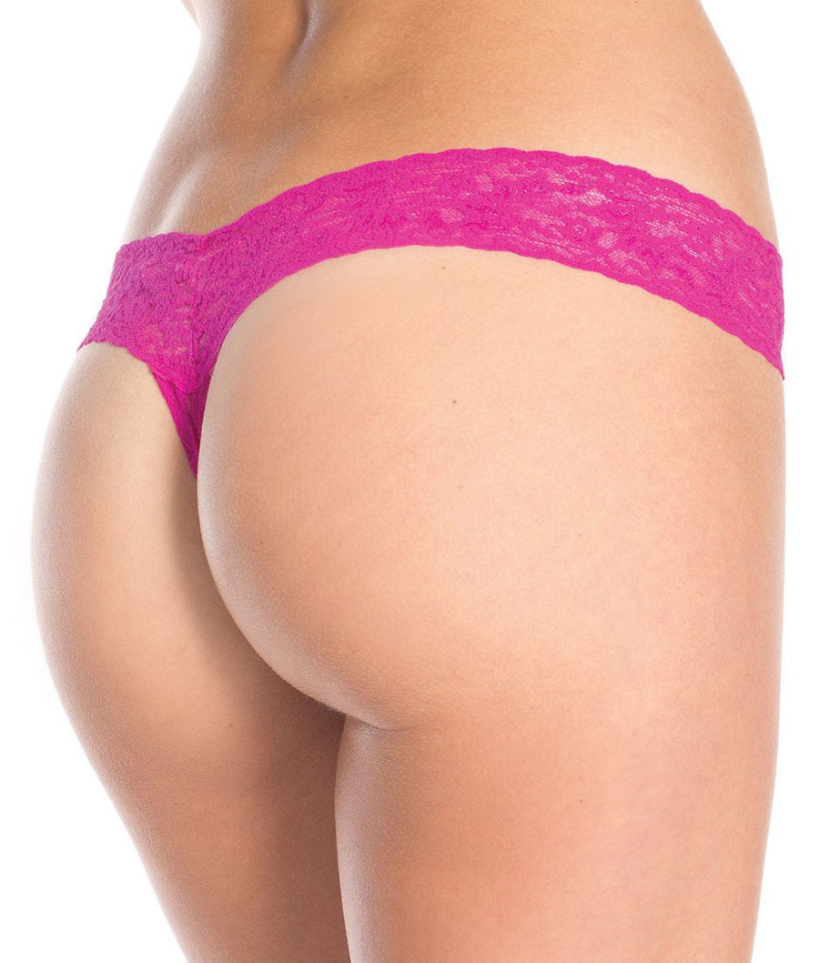 Hot Pink||Crotchless Lace Thong in Hot Pink