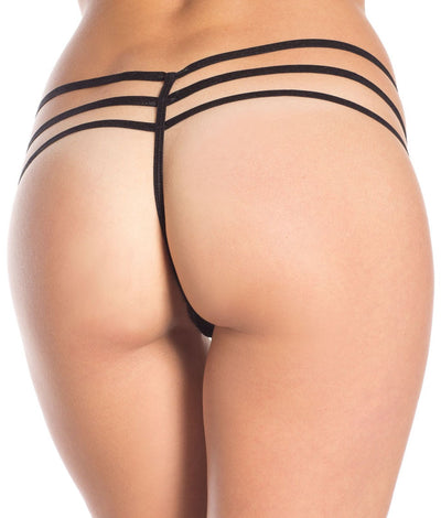 Triple Strap Eyelash Lace G-String in Black
