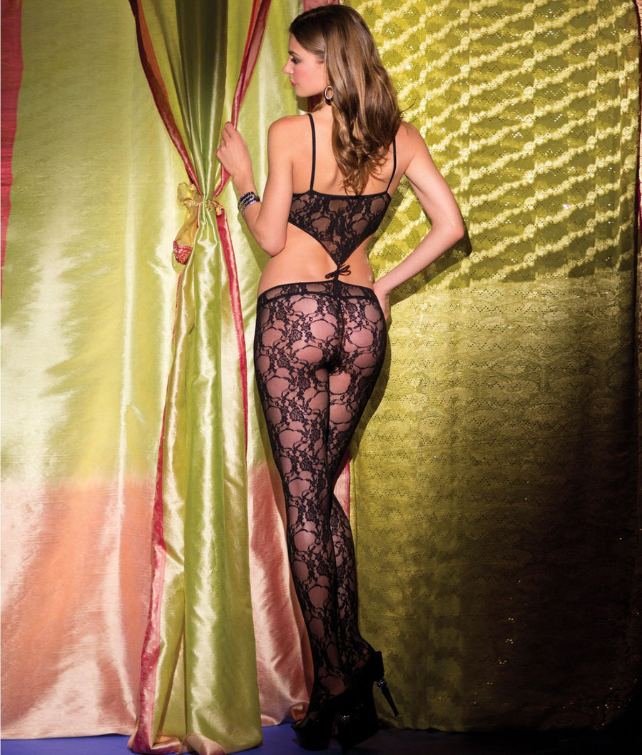 Black||Floral Lace Crotchless Bodystocking in Black