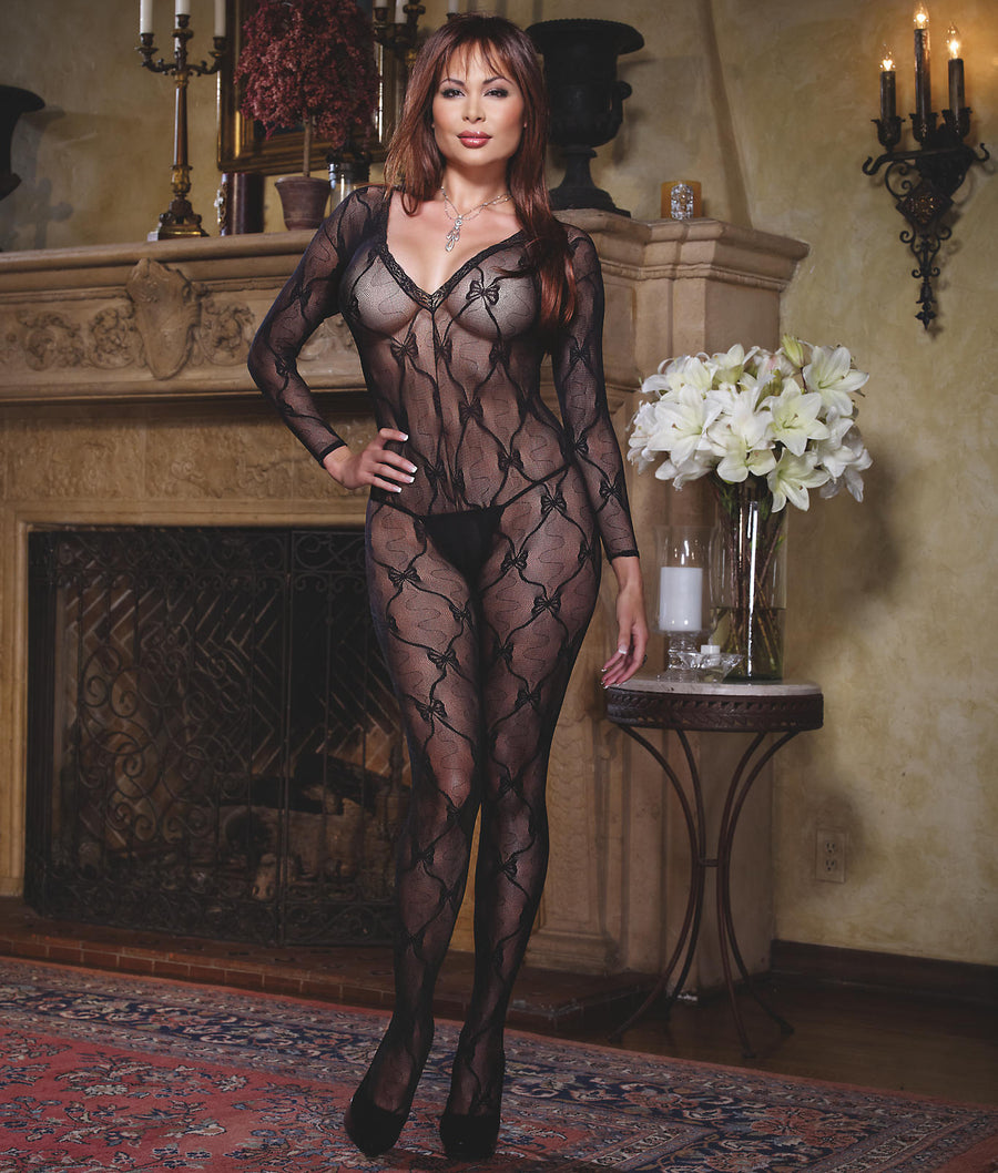 Black||Plus Size Lace Bodystocking in Black