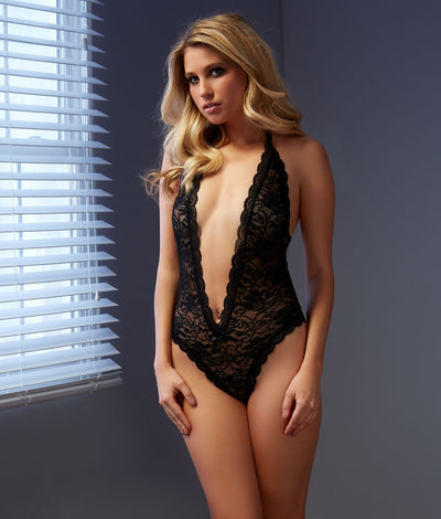 Lace Halter Teddy in Black