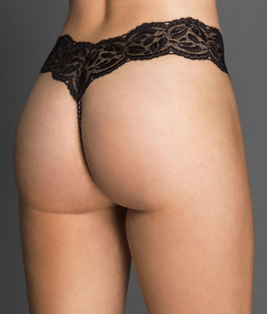 Black||Paris Collection Pearl Thong in Black