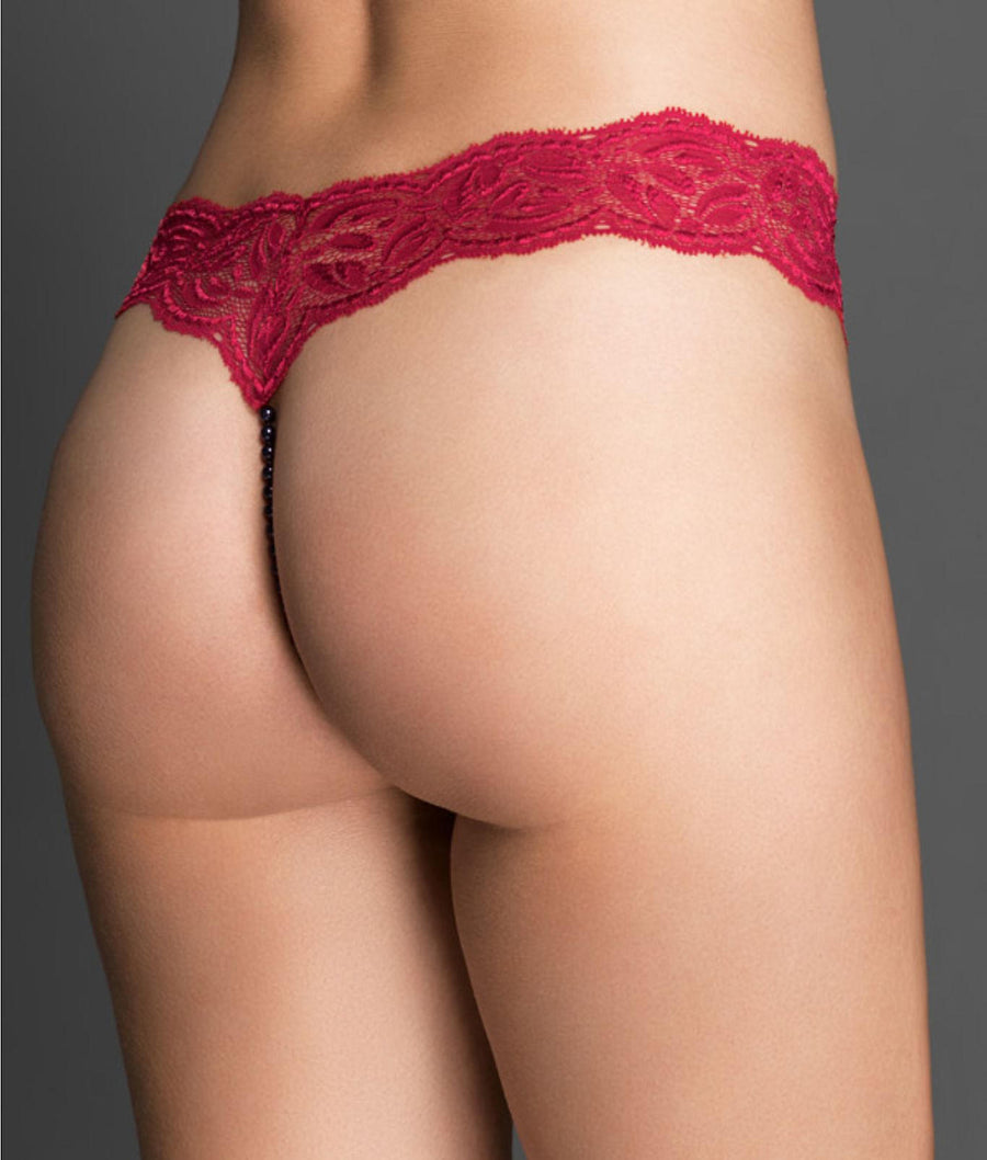 Red||Paris Collection Pearl Thong in Red
