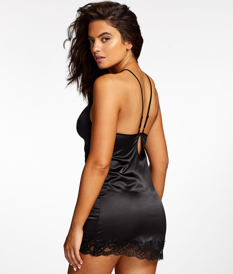 Black||Lorna High Neck Chemise in Black