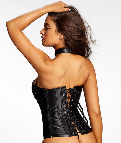Ramona Faux Leather Corset Set in Black
