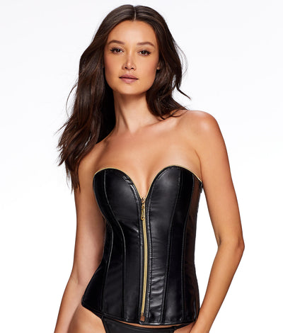 Angelene Faux Leather Zip-Up Corset Set in Black