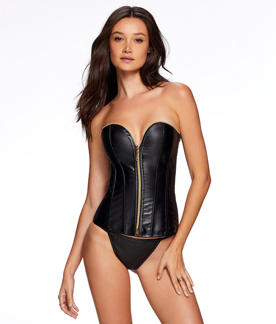 Angelene Faux Leather Corset Set