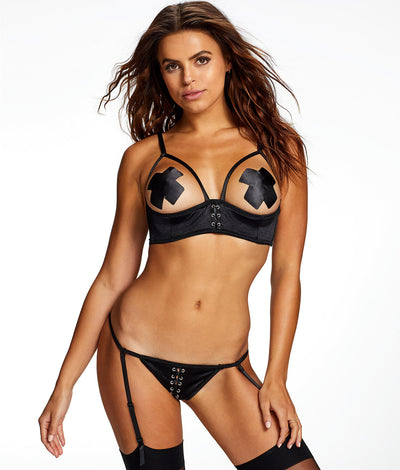 Delta Gia Open Cup Bra Set in Black