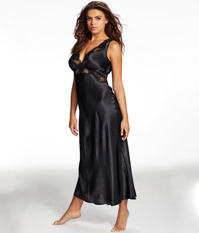 Nicole Satin And Lace Night Gown in Black