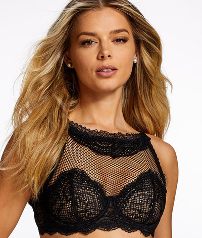 Azura High Neck Sheer Bra in Black