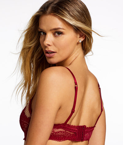 Azura High Neck Sheer Bra in Rumba Red