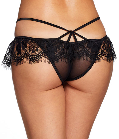 Jade Lace Crotchless Panty in Black