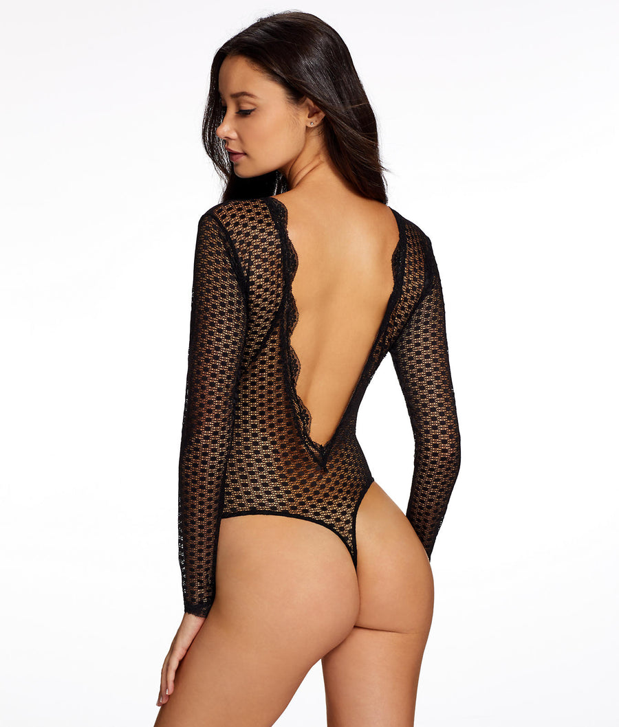 Deep Plunge Tie-Up Bodysuit