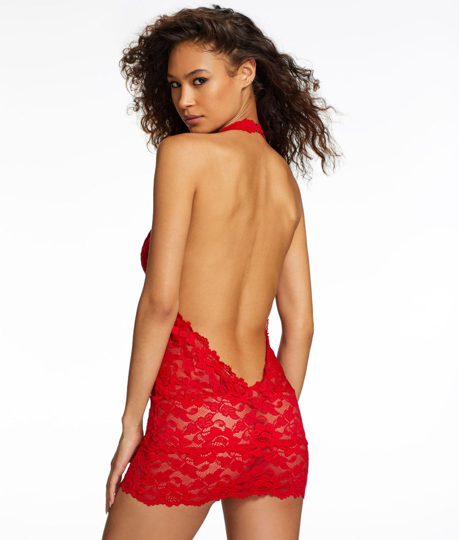 Barbados Cherry Red||Jessica Lace Plunge Chemise in Barbados Cherry Red