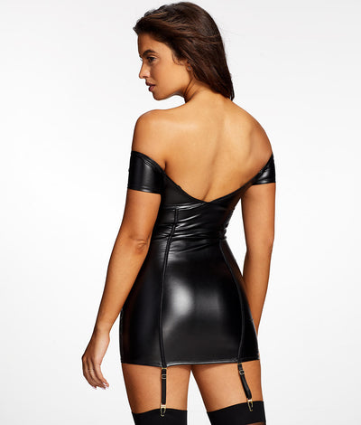 Regan Faux Leather Chemise Set in Black