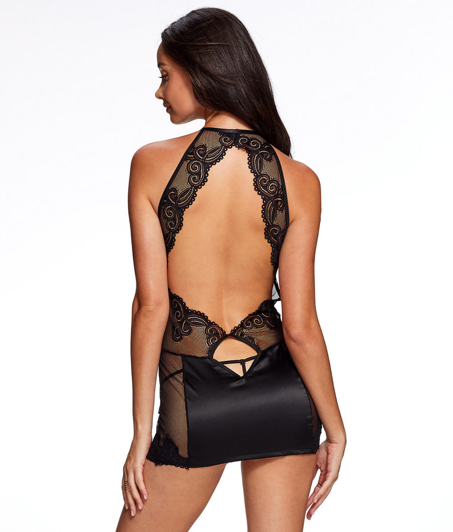 Black||Marina Satin, Lace & Mesh Chemise Set in Black