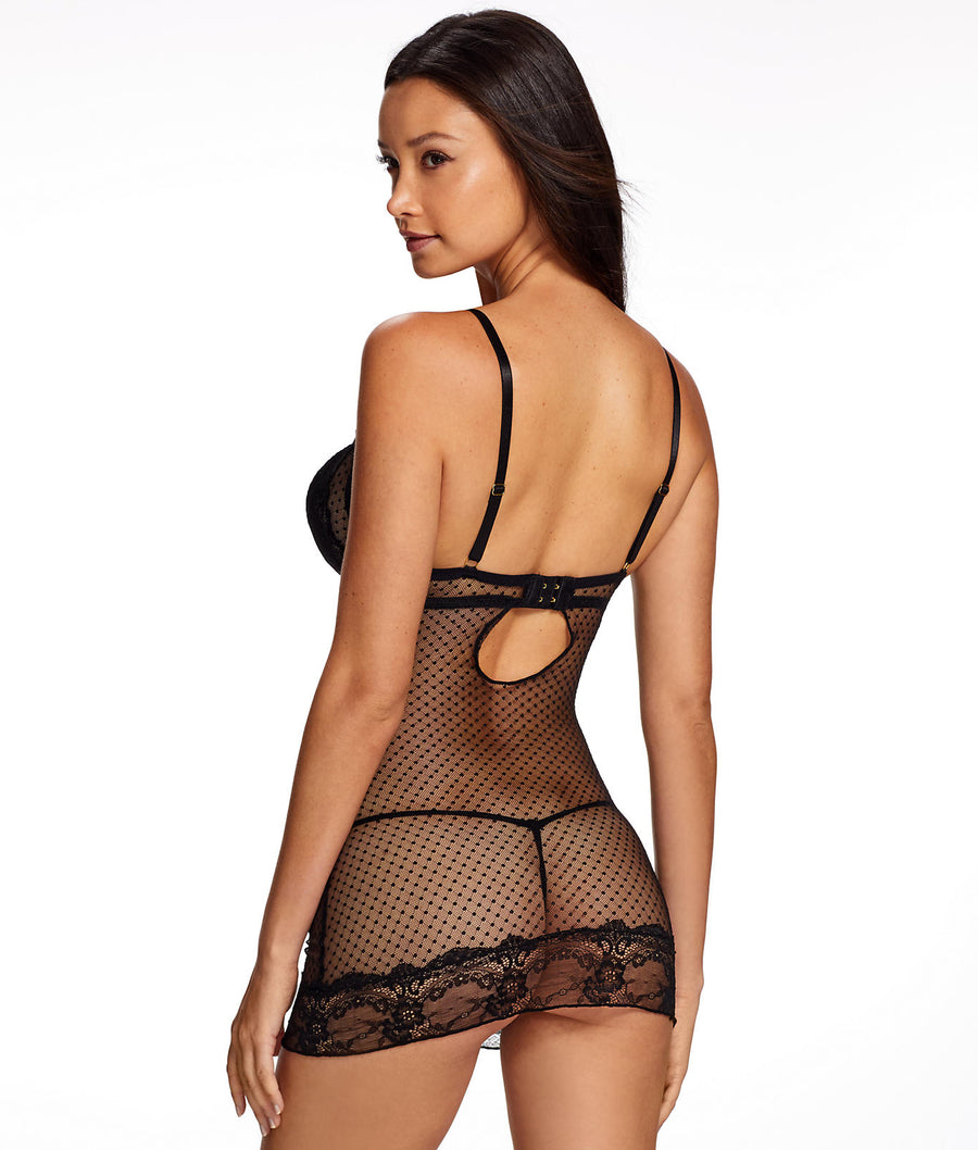 Black||Yasmina Mesh Chemise Set in Black