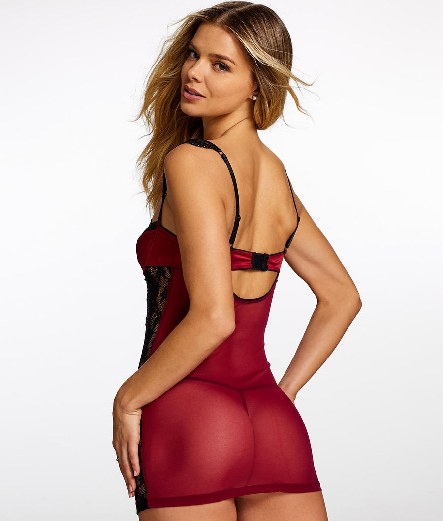 Rumba Red||Lana Tulip Satin Lace Chemise in Rumba Red