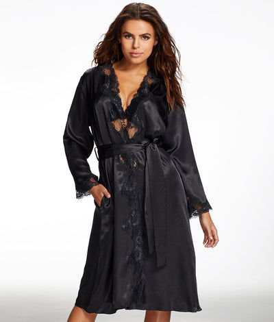 Nicole Satin And Lace Robe in Black
