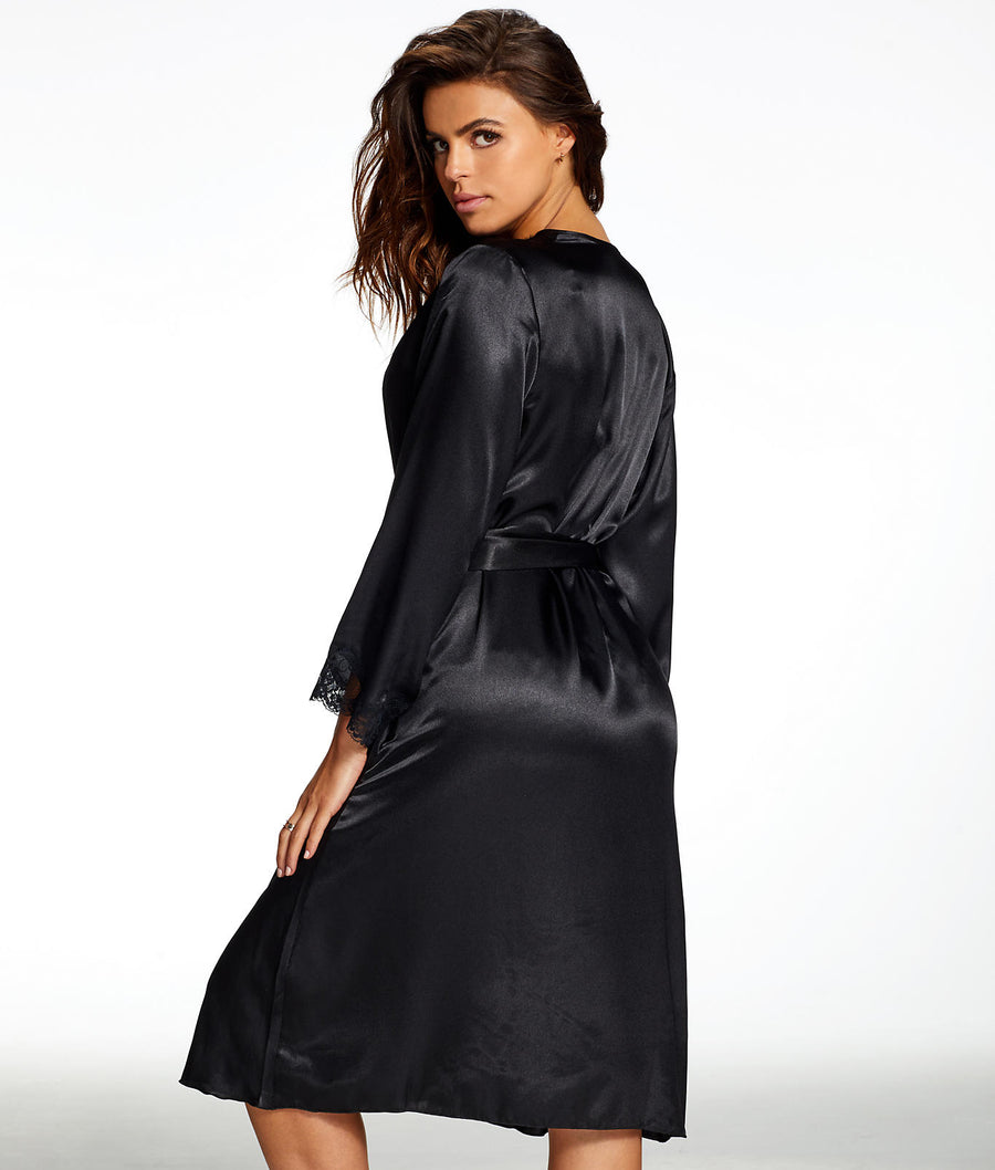 Black||Nicole Satin And Lace Robe in Black