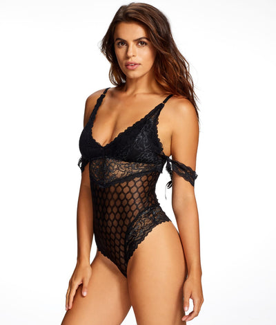 Dion Lace & Mesh Teddy in Black