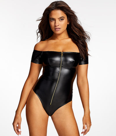Regan Faux Leather Bodysuit in Black