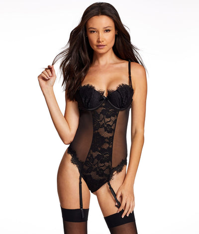 Stephanie Garter Lace Teddy in Black