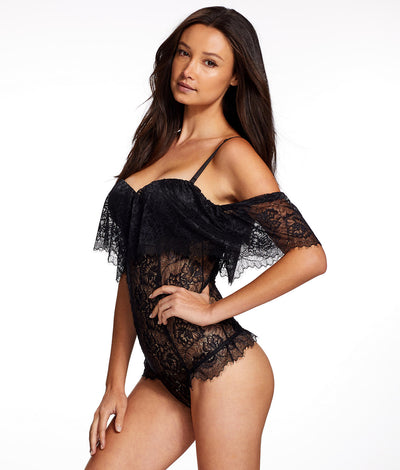 Iona Ruffle Bandeau Teddy in Black