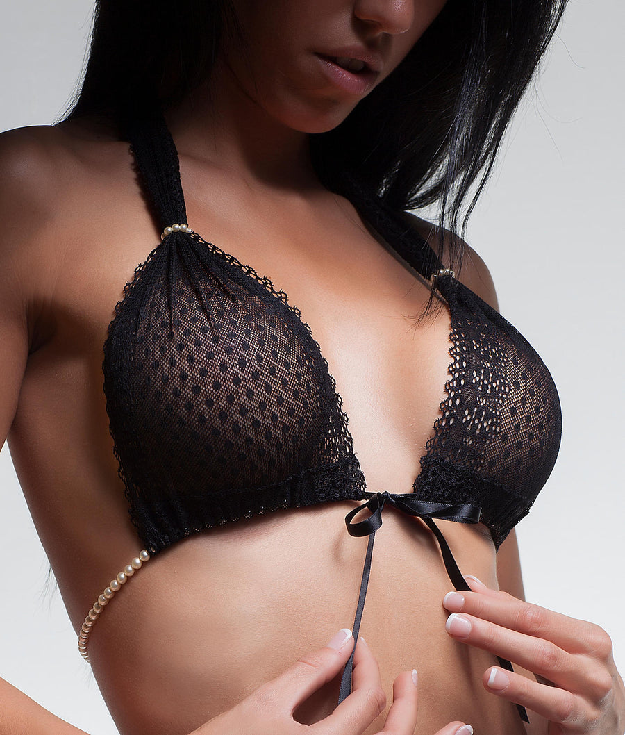 Black||Halter Wire-Free Lace G-Bra in Black