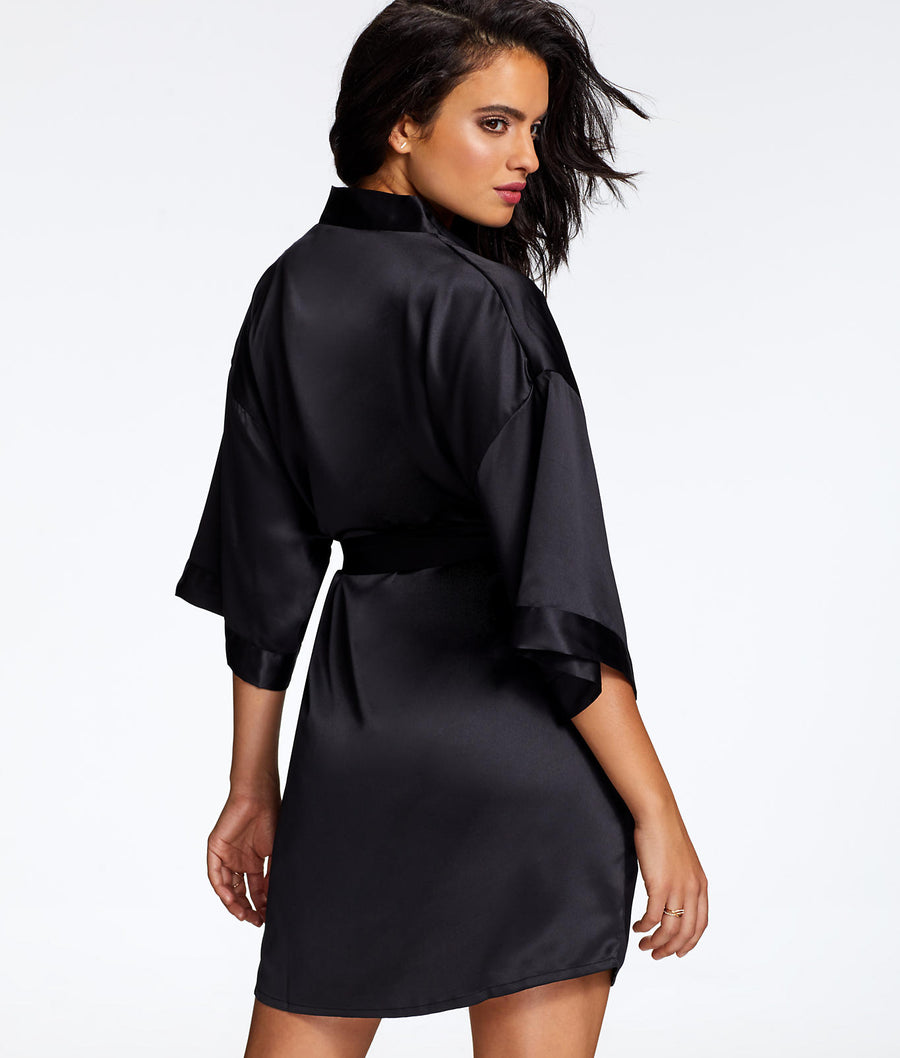 Black||Kimono Satin Robe in Black