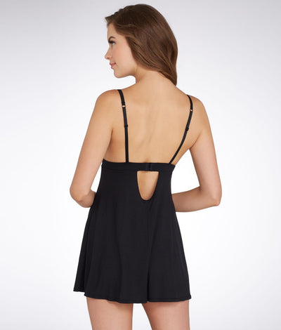 Demure Knit Chemise in Black