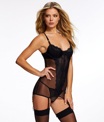 Liezel Garter Chemise Set in Black