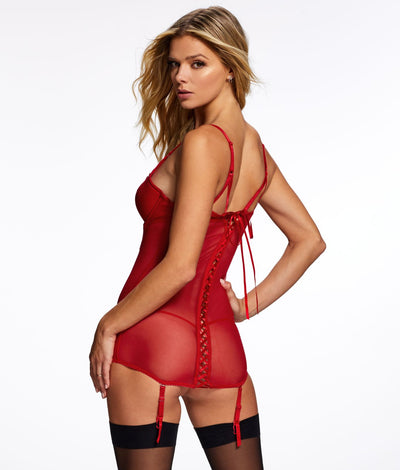 Liezel Garter Chemise Set in Tango Red