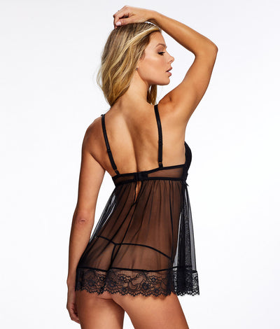 Liezel Push-Up Babydoll Set in Black