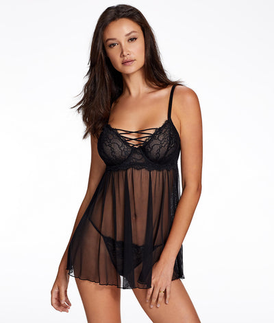 Gretel Babydoll Set in Black