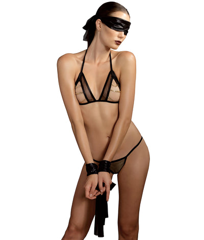 KINK Chain Wire-Free Bra Set in Black