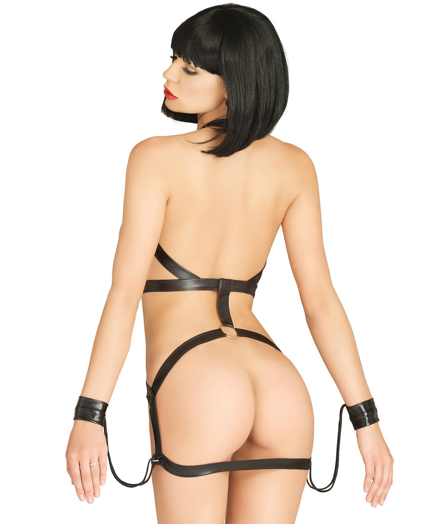 Black||KINK Body Harness Dress And Wrist Cuffs in Black