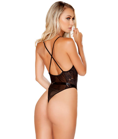 Deep Plunge Mesh & Lace Teddy in Black