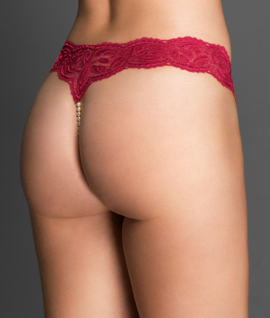 Red||Paris Collection Classic Pearl Thong in Red