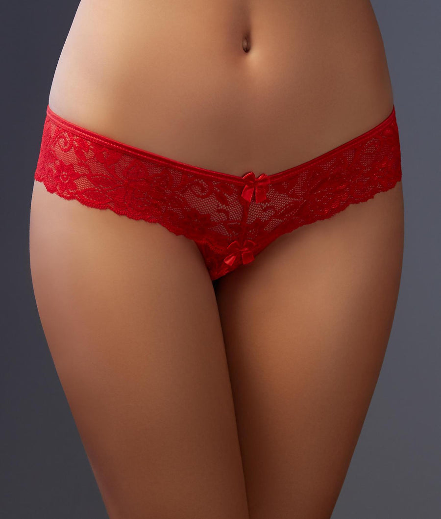Red||Crotchless Lace Thong in Red