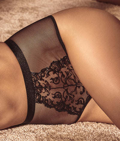 Vienna High-Waist Thong in Black