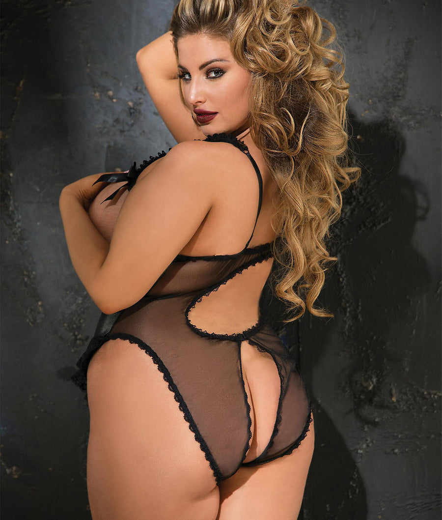 Plus Size Open Cup Crotchless Teddy Set