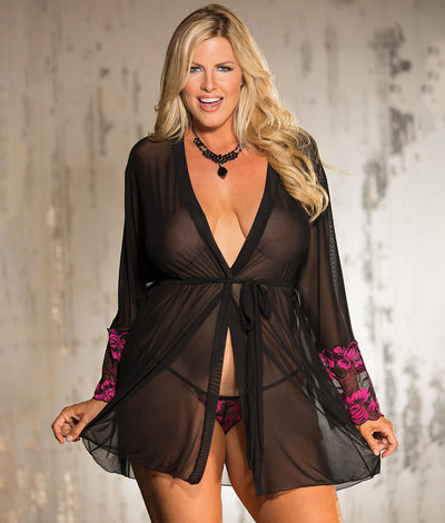 Plus Size Two Tone Lace Robe Set in Black