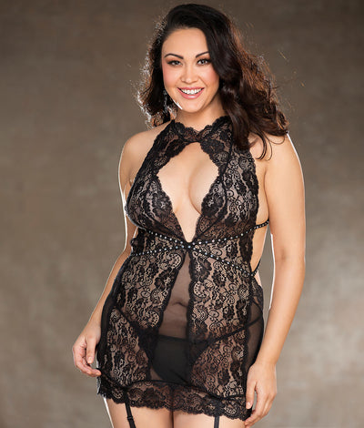 Plus Size Keyhole Rhinestone Chemise Set in Black