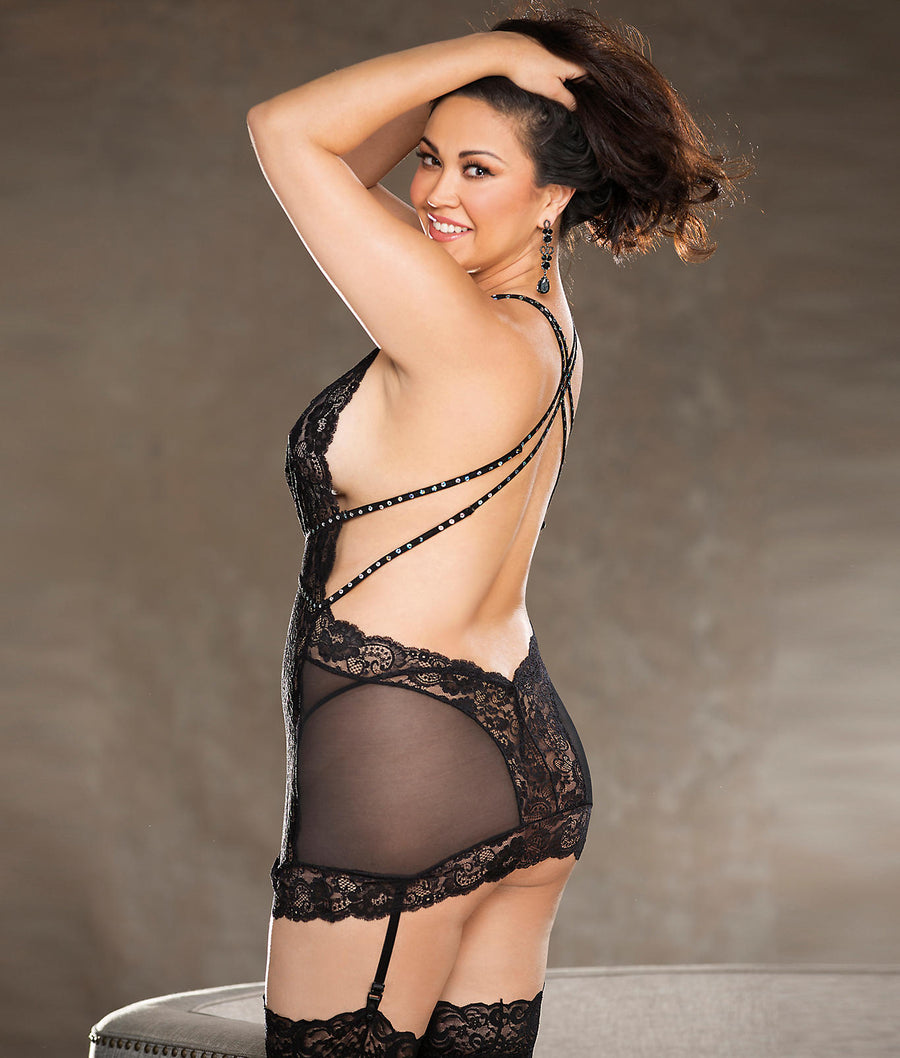 Black||Plus Size Keyhole Rhinestone Chemise Set in Black