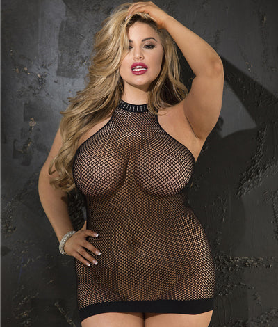 Plus Size Halter Fishnet Chemise in Black