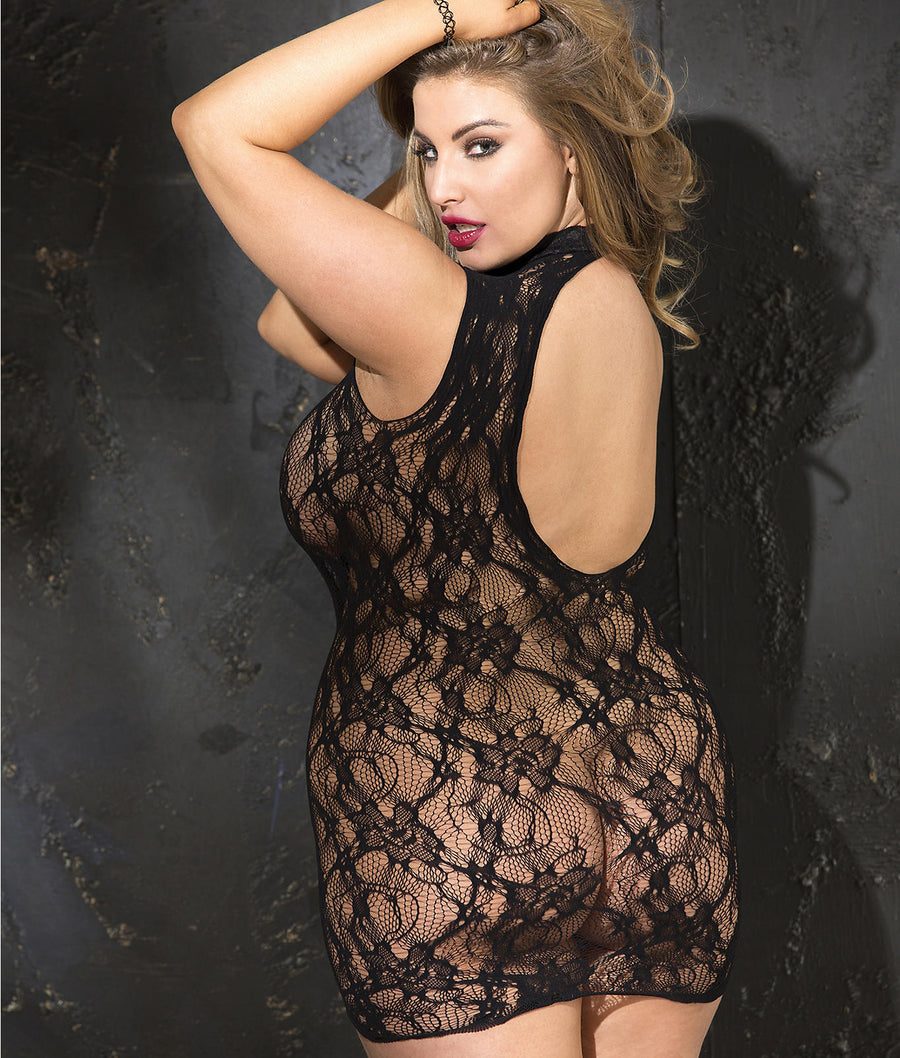 Black||Plus Size Stretch Lace Chemise in Black